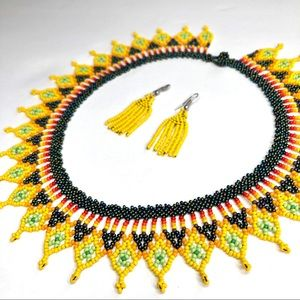 Colombian Handmade Yellow Beaded Necklace Miyuki